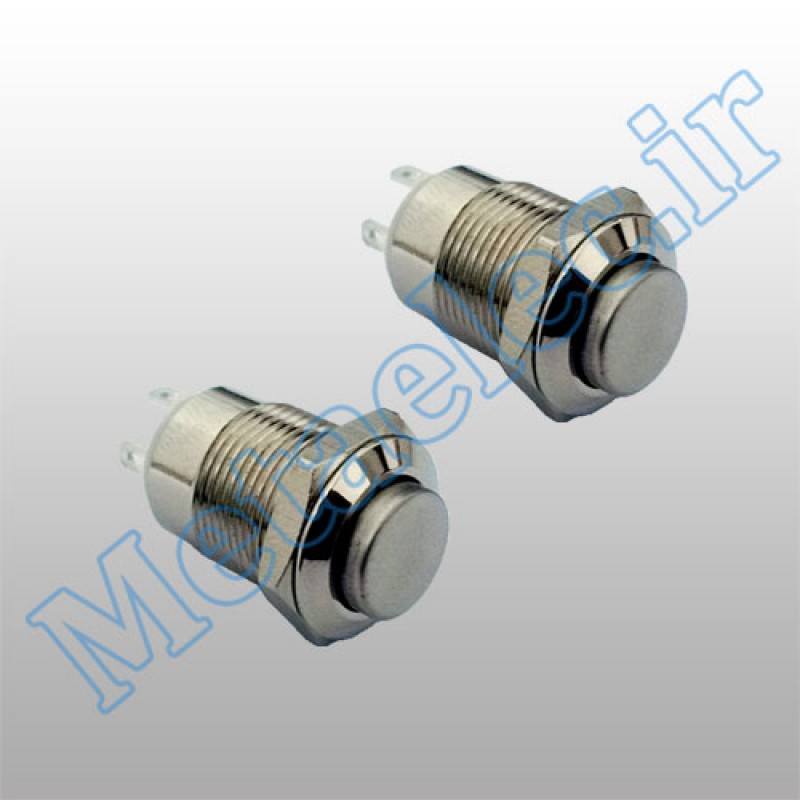 پوش باتن / کلید فلزی ریستی Reset بدون چراغ قطر 12mm ضد آب