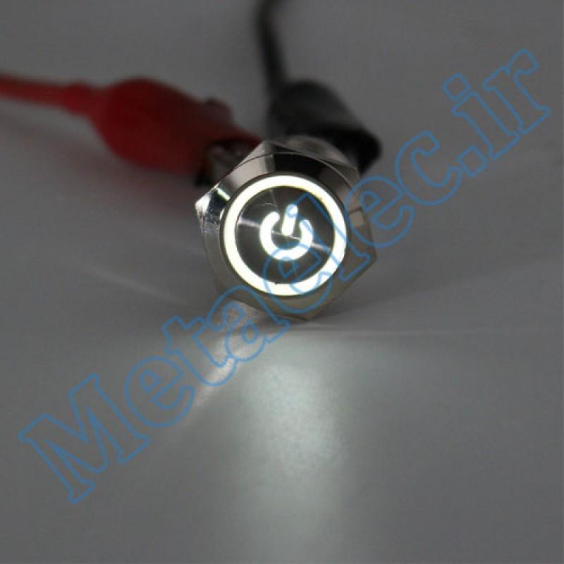 پوش باتن / کلید فلزی ON/OFF چراغ دار قرمز قطر 16mm ضد آب 12-24 ولت 4پایه