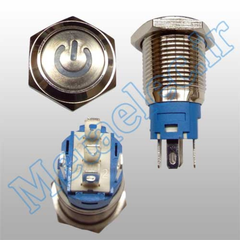 پوش باتن / کلید فلزی ON/OFF چراغ دار قرمز قطر 16mm ضد آب 12 ولت