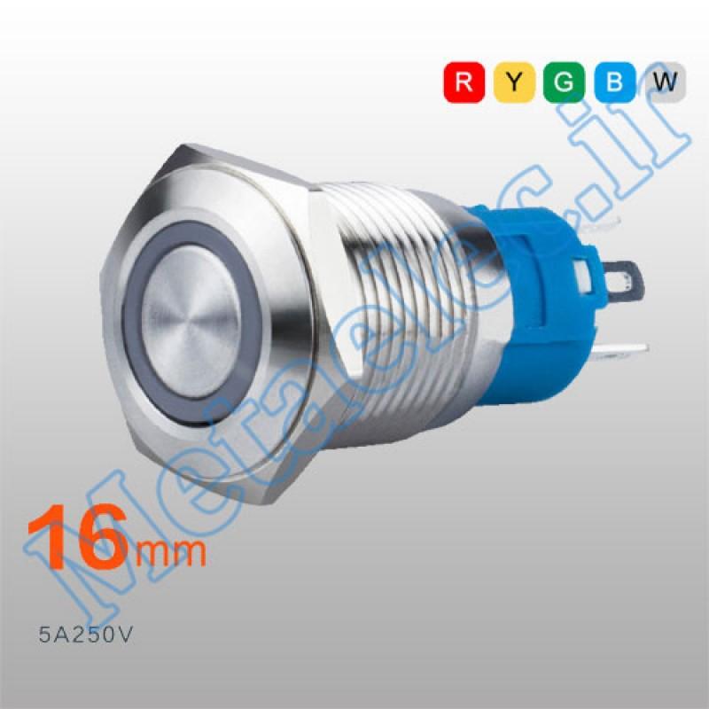 پوش باتن / کلید فلزی ریستی Reset چراغ دار سبز قطر 16mm ضد آب 12 ولت مدل  FT16Q-C49