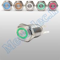 پوش باتن / کلید فلزی ریستی Reset چراغ دار سبز قطر 16mm ضد آب 12-24 ولت 4 پایه