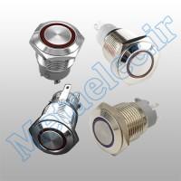 پوش باتن / کلید فلزی ریستی Reset چراغ دار قرمز قطر 16mm ضد آب 12-24 ولت 4 پایه