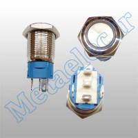 پوش باتن / کلید فلزی ریستی Reset چراغ دار سبز قطر 16mm ضد آب 12 ولت