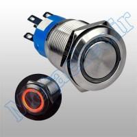 پوش باتن / کلید فلزی ریستی Reset چراغ دار قرمز قطر 19mm ضد آب 12 ولت