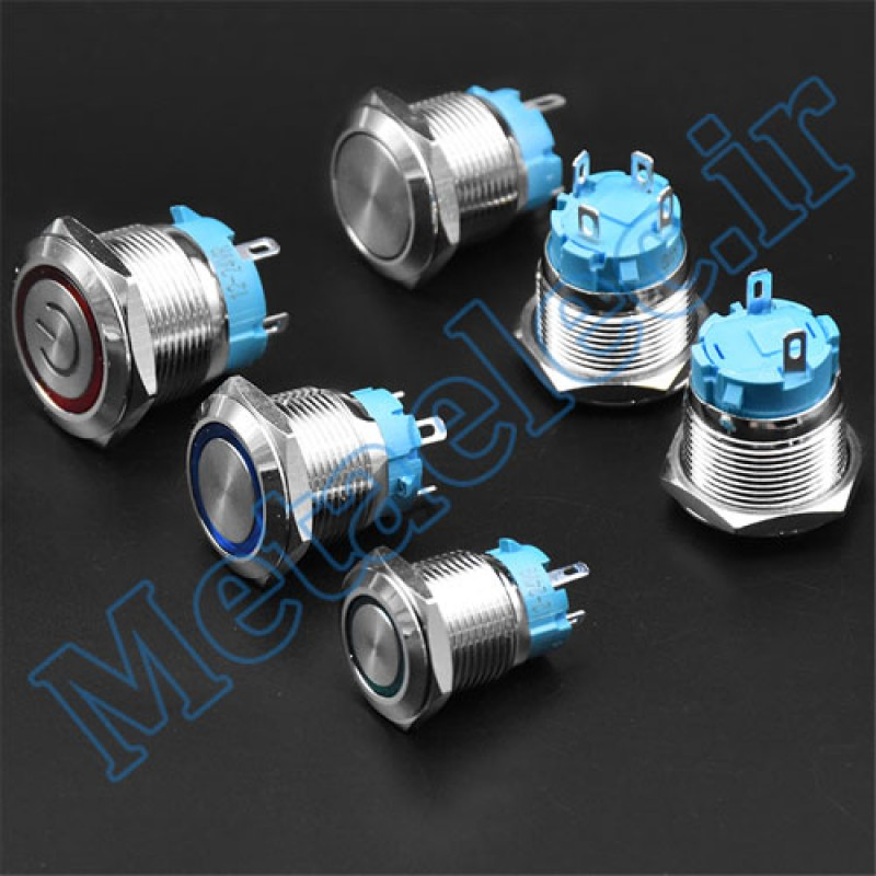 پوش باتن / کلید فلزی ON/OFF چراغ دار سبز قطر 19mm ضد آب 12-24 ولت 4پایه