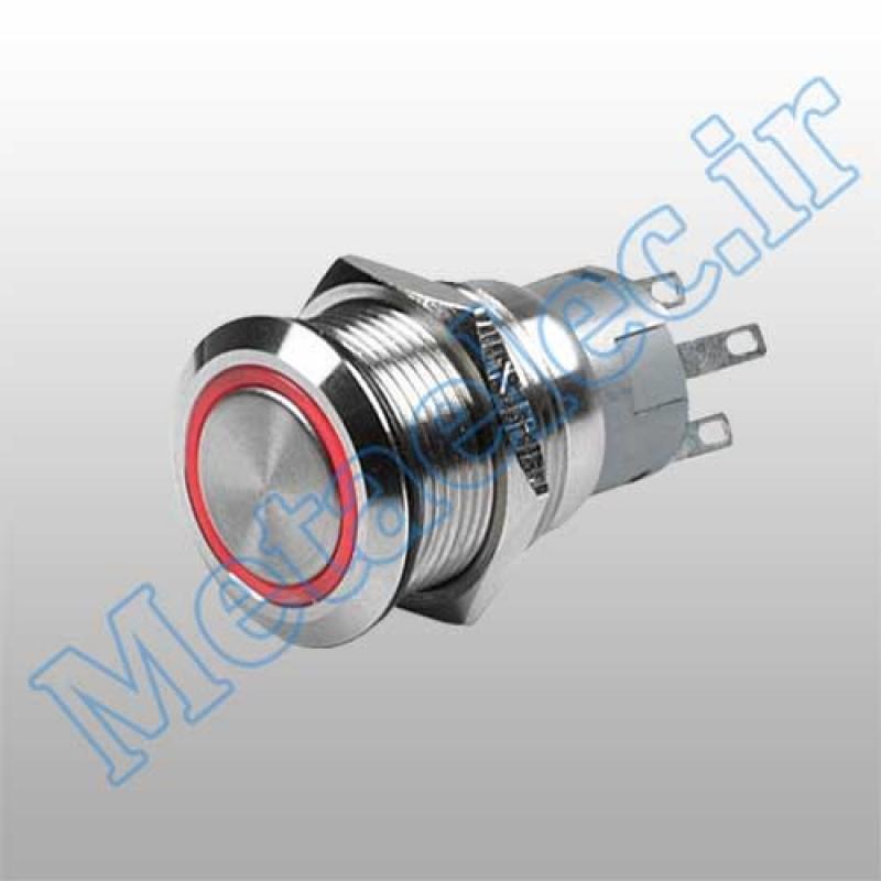 پوش باتن / کلید فلزی ریستی Reset چراغ دار قرمز قطر 22mm ضد آب 12-24 ولت