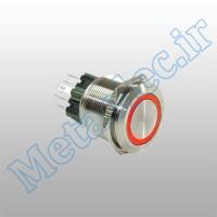 پوش باتن / کلید فلزی ON/OFF چراغ دار قرمز قطر 24mm ضد آب 24 ولت