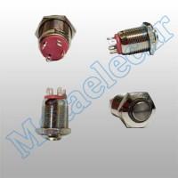 پوش باتن / کلید فلزی ریستی Reset چراغ دار قرمز قطر 12mm ضد آب 24 ولت
