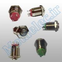 پوش باتن / کلید فلزی ریستی Reset چراغ دار سبز قطر 12mm ضد آب 24 ولت